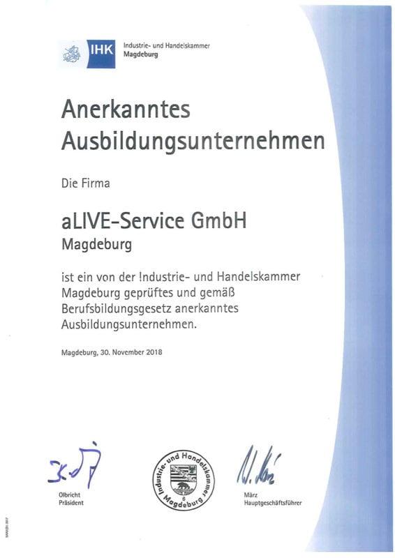 aLIVE-Service Zertifikat Ausbildungsbetrieb