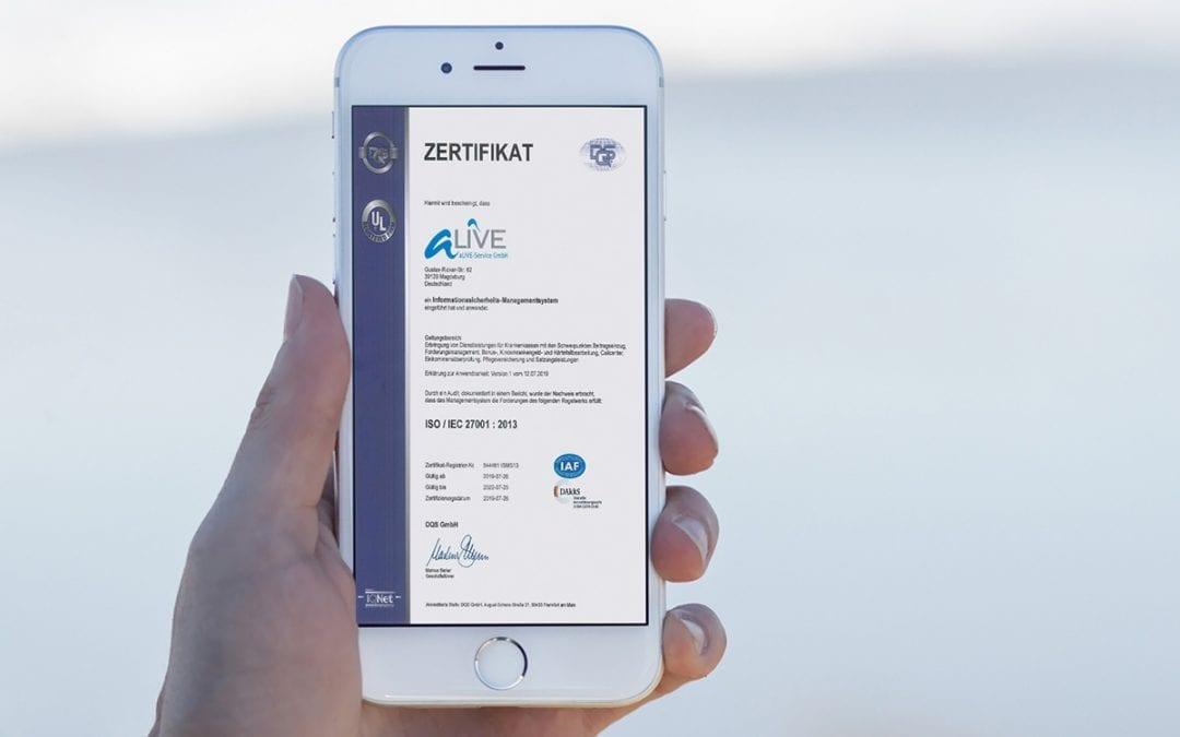 Die aLIVE-Service GmbH hat die Prüfung zur Zertifizierung nach ISO 27001 IT-Informationssicherheits-Management (ISMS) bestanden