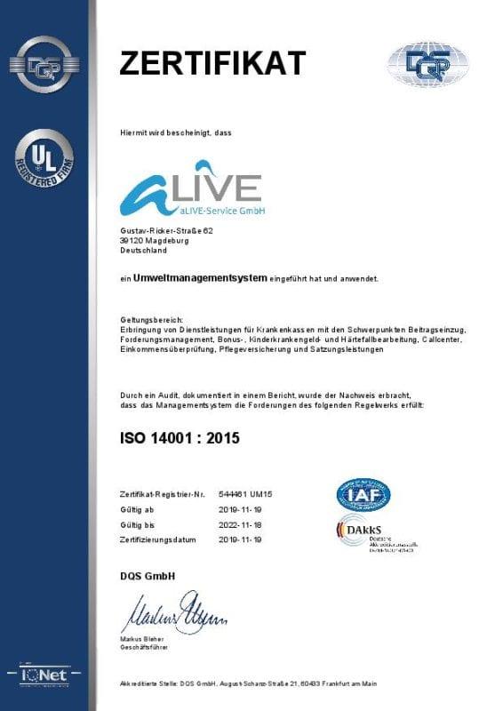 ISO 14001 Zertifizierung der aLIVE-Service GmbH