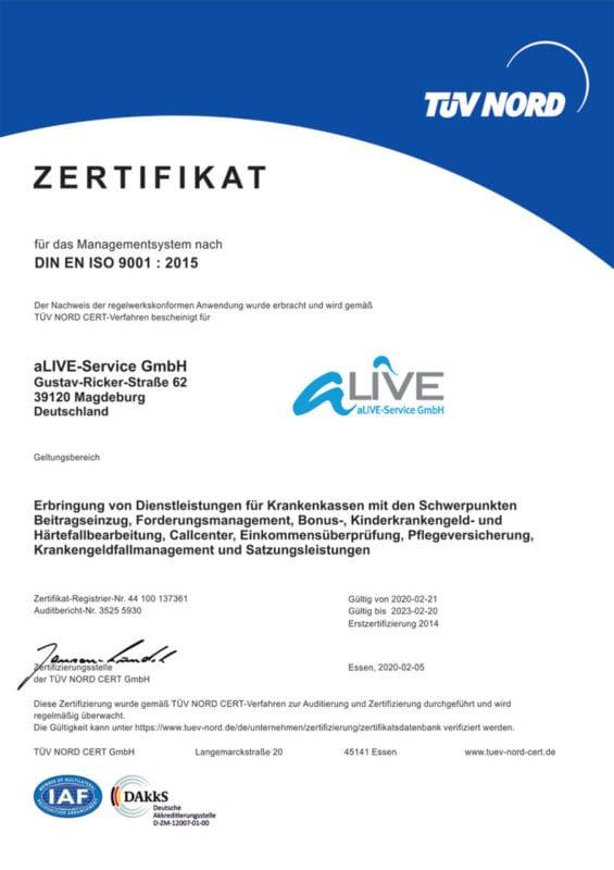 aLIVE-Service TÜV Nord Zertifikat
