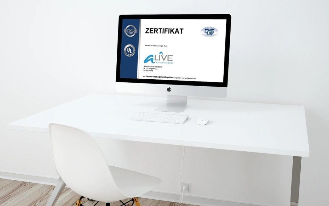 Drei Zertifikate auf einmal nach ISO 9001, ISO 27001 und ISO 14001 für die aLIVE-Service GmbH